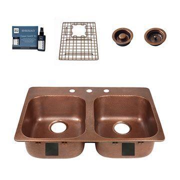 Sinkology Santi Drop In 33 Inch Double Copper Kitchen Sink Package