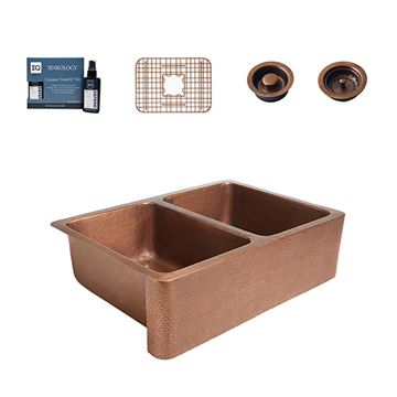 Sinkology Rockwell Farmhouse Double Copper Kitchen Sink Package