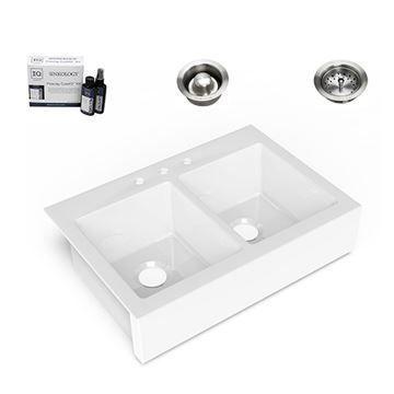 Sinkology Parker Quick-Fit Farmhouse Double Fireclay Sink Package