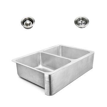 Sinkology Anning Farmhouse Hammered Stainless Kitchen Sink Package