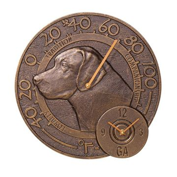 LABRADOR CLOCK & THERMOMETER