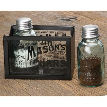 MASON JAR SALT & PEPPER SHAKERS WITH CADDY