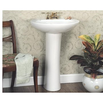 4 WHITE SM PEDESTAL LAVA TORY VITREOUS CHINA *DS*