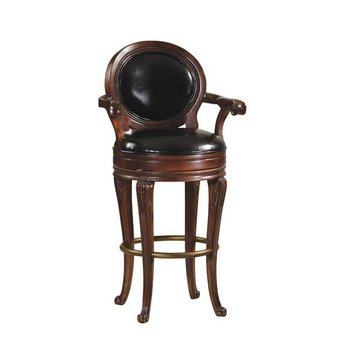 SARANAC SWIVEL BAR STOOL BLKLEATHER*DS*PPD*