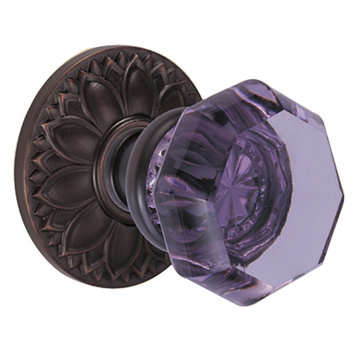 FLORAL 2 3/4 PASSAGE DOOR SET WITH GLASS KNOB