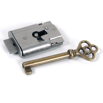 Restorers Classic Steel Cabinet Lock with Skeleton Key