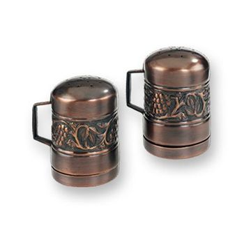 SALT & PEPPER SET/ANTIQUE HERITAGE 4 1/4 HIGH