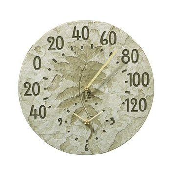 14.5MOSS GREEN THERMOMETER CLOCK  *DS*