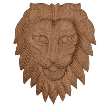 Legacy Artisan Hand Carved Lion Face Applique