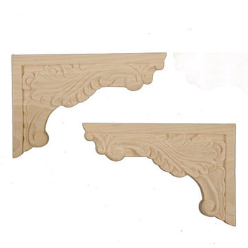 Legacy Signature 6 3/4 Inch Leaf And Scroll Squared Applique Pair