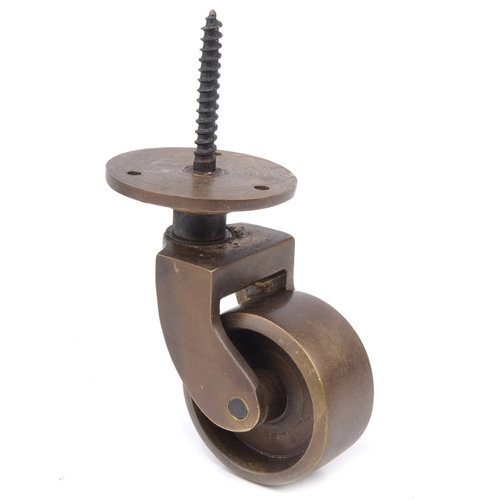 Rers Solid Br Threaded Caster 1 Inch Wheel