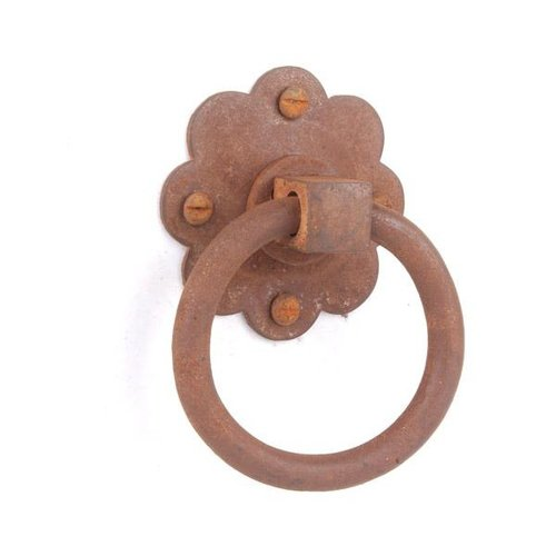 Restorers Iron Ring Pull with Flower Rosette