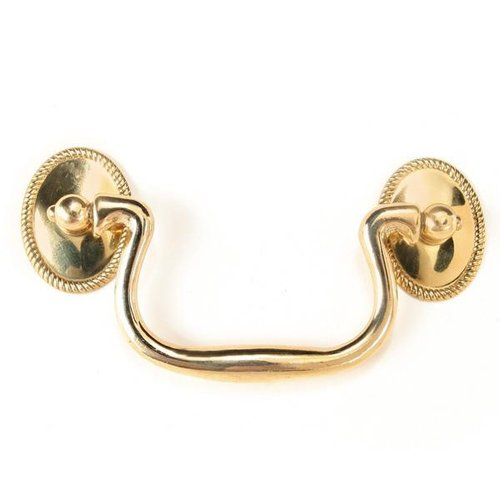 BRASS BAIL PULL WITH OVAL ROPE ROSETTES