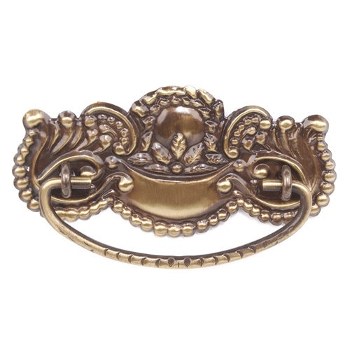 Antique Brass Beaded Victorian Pull - 4 1/2 Inch