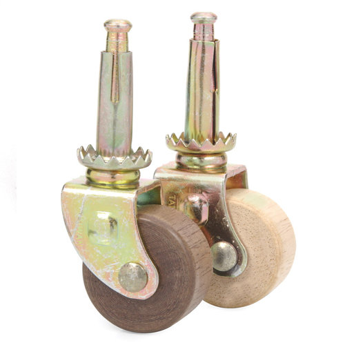 STEEL CASTER WITH WOOD WHEEL