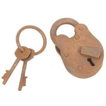 RUSTY STEEL PADLOCK 2 KEYS 2 1/2HX 1 1/2W