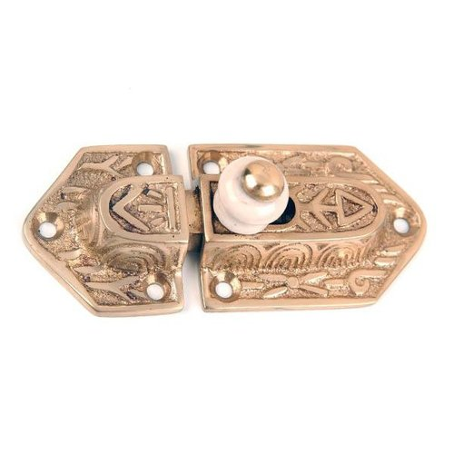 Restorers Polished Brass Latch with Porcelain Knob