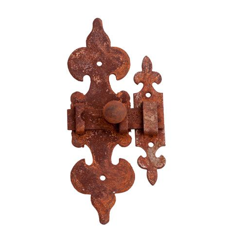 RUSTED & WAXD IRON ORNATE SLIDING LATCH WITH CATCH