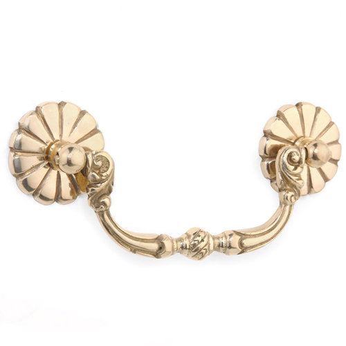 BRASS BAIL PULL WITH ROSETTE
