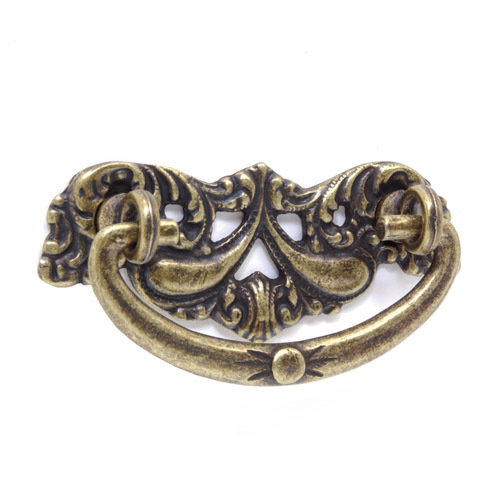 """Victorian 3"""" Bail Pull with Leaf Backplate"""