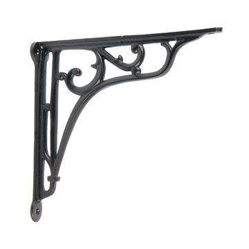 restorers black powder coat iron shelf bracket van dyke. Black Bedroom Furniture Sets. Home Design Ideas