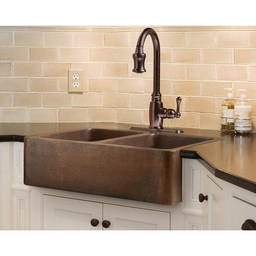 Legacy Signature Farmhouse Apron Double Bowl Copper Kitchen Sink  Van