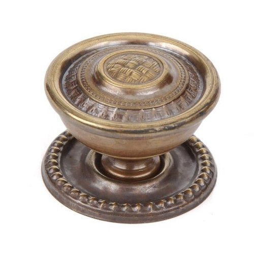 BRASS BASKET WEAVE KNOB WITH BACKPLATE