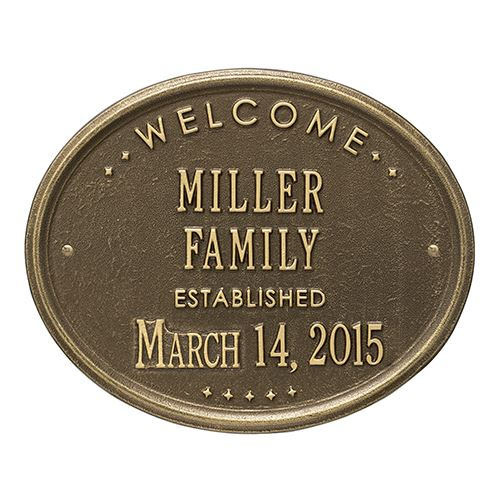 WELCOME FAMILY OVAL PERSONALIZED PLAQUE