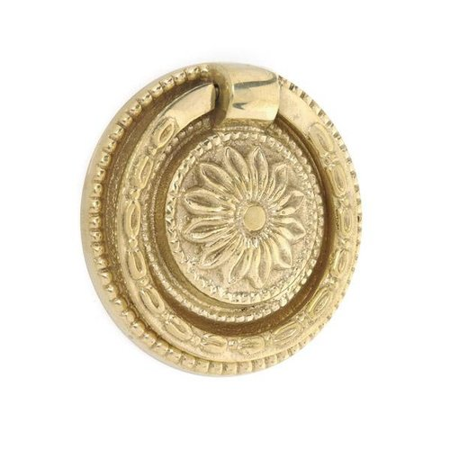 Brass Ring Pull with Round Floral Backplate