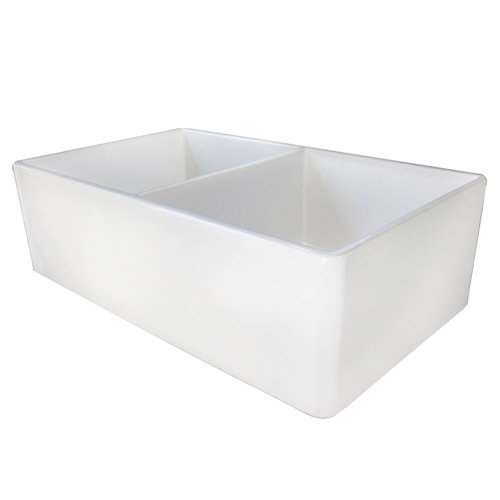 White Double Bowl Farmhouse Sink : 39