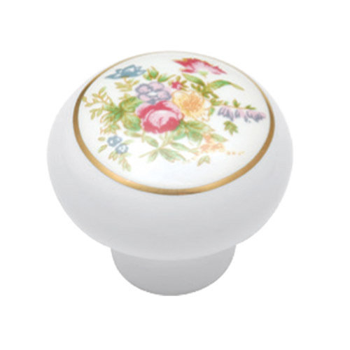 Belwith Keeler English Cozy Bouquet Knob With Gold Band