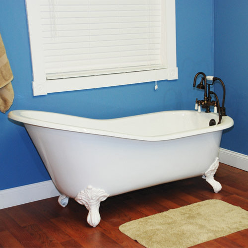 Restorers 67 inch slipper clawfoot cast iron bath tub for Slipper tub bathroom design