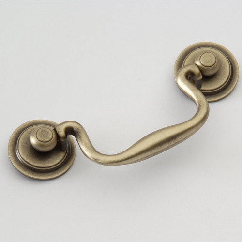 Classic brass classic collection bail pull with round for Furniture bail pulls