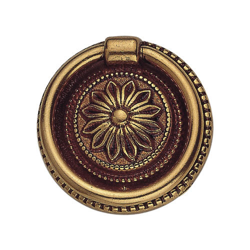 Classic Hardware Louis XVI Simple Flower Brass Ring Pull