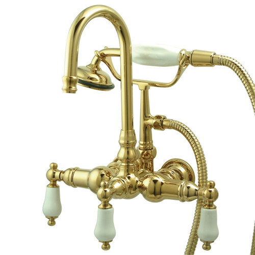 10 3/8 Inch Clawfoot Tub Faucet With Hand Shower - Porcelain Lever
