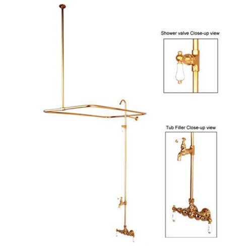 Clawfoot Tub Faucet And Shower System - H&C Porcelain Lever