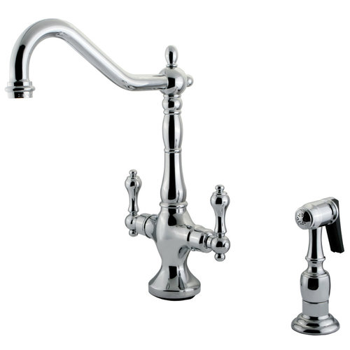 Heritage Spread Kitchen Faucet With Brass Sprayer - Metal Lever