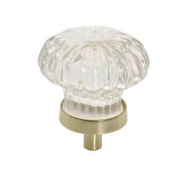VICTORIAN GLASS KNOB W/BRASS BKPLTE - 1 3/4 DIAM