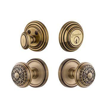Grandeur Georgetown Single Cylinder Entry Set With Windsor Knob - Keyed Alike