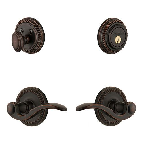 Grandeur Newport Single Cylinder Entry Set With Bellagio Lever - Keyed Differently
