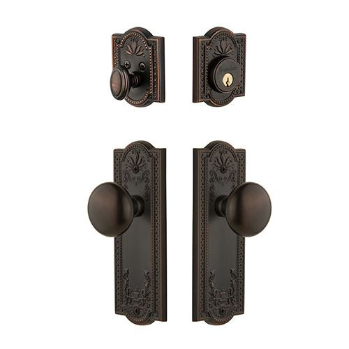 Grandeur Parthenon Single Cylinder Entry Set With Fifth Avenue Knob - Keyed Differently