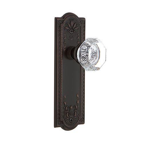 Nostalgic Warehouse Meadows Privacy Interior Door Set With Crystal Waldorf Knob - No Keyhole