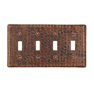 Premier Copper Copper Quadruple Toggle Switchplate