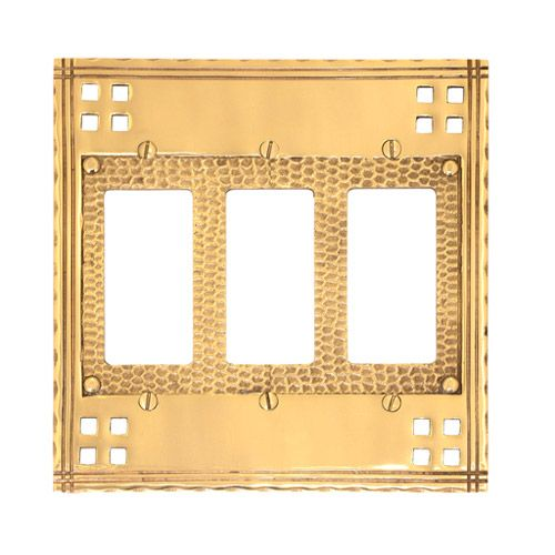 Brass Accents Arts And Crafts Triple Rocker Switchplate Van Dykes