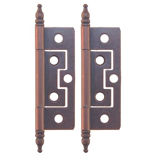 Restorers Classic 2 1/2 Inch Mission Non Mortise Steeple Tip Hinge - Pair