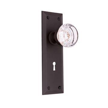 Restorers Classic Plain Interior Mortise Lock Round Glass Door Knob�Set