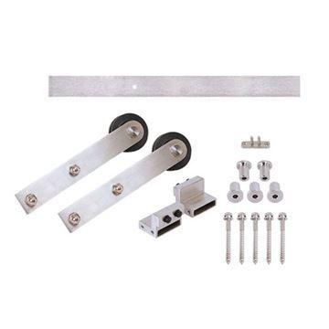 Stainless Glide Flat Rail Stick Rolling Door Hardware Kit   Wood Door