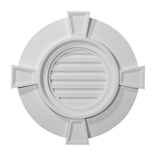 Restorers Architectural Wide Trim Round Urethane Functional Gable Vent With Keystones