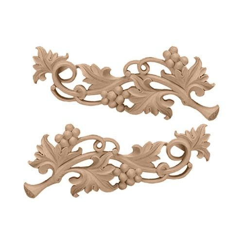Restorers Architectural Small Grape Scroll Onlay Appliques - Pair