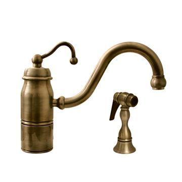 Whitehaus Beluga Single Hole Kitchen Faucet U0026 Sprayer   Curved Handle